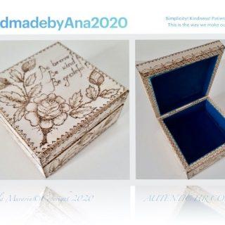 Cutie patrata din lemn, pirogravata manual