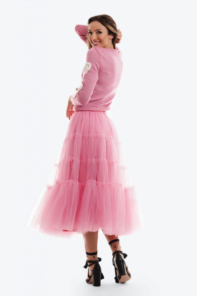 Pulover Roz Candy Tricotat Inimi Crosetate01