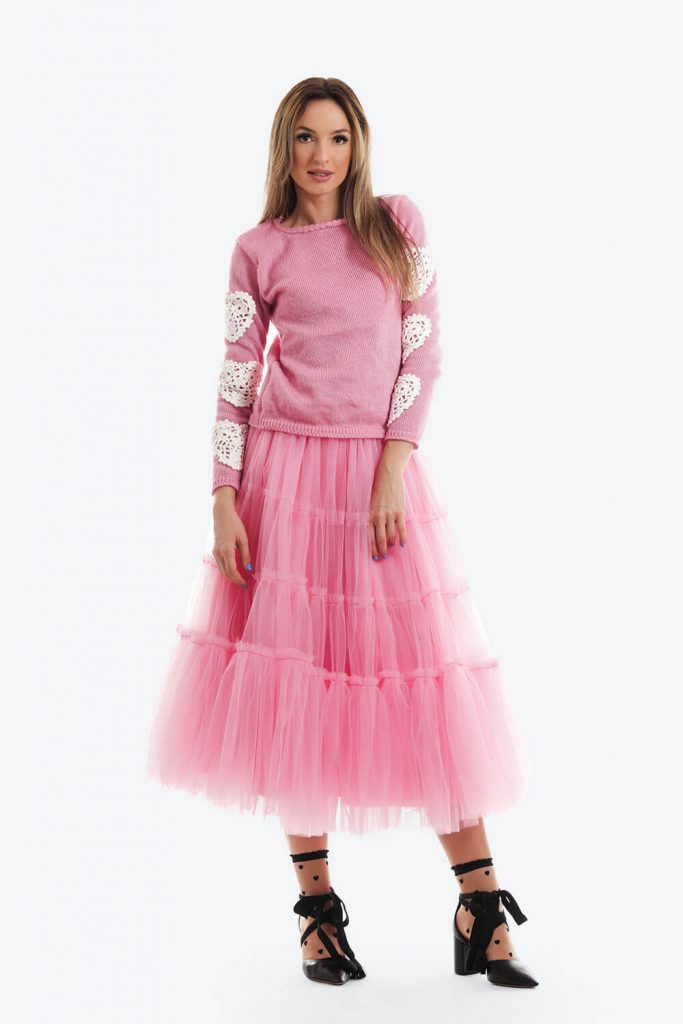 Pulover Roz Candy Tricotat Inimi Crosetate02